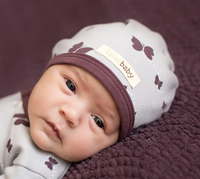 L'OVEDBABY 100% Organic Cotton Cute Cap, Eggplant Butterflies