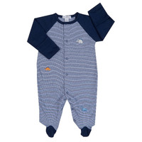 Kissy Kissy 100% Pima Cotton Jurassic Journey Stripe Footie, Navy