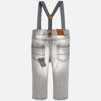 Mayoral Baby Boys Denim Trousers with Suspenders, Gray