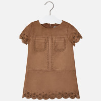 Mayoral Girls Faux Suede Eyelet Dress, Chestnut
