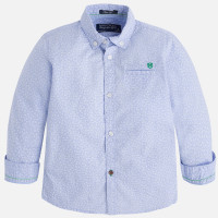 Mayoral Boys Long Sleeve Print Shirt, Sky Blue