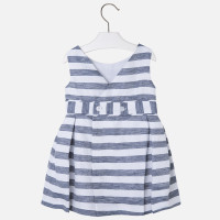 Mayoral Girl striped dress with flower applique on waist, Navy