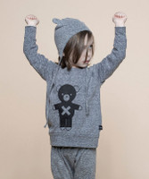 Huxbaby Organic Cotton Soldier Bear Slub Sweatshirt, Grey Marle
