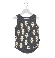 Huxbaby Organic Cotton Soldier Bears Tank, Grey Marle