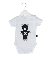 Huxbaby Organic Cotton Soldier Bear Onesie, White