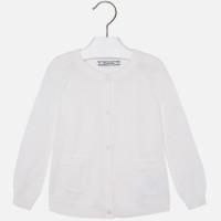Mayoral Girl jersey cardigan with pockets, Natural