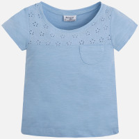 Mayoral Girls Embroidered Tee, Sky Blue