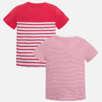 Mayoral Boy Short Sleeve Striped Shirt - Watermelon