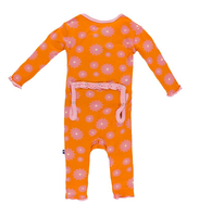 Kickee Pants Print Ruffle Coverall, Sunset Water Lily