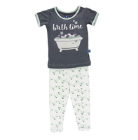 Kickee Pants Print Short Sleeve Pajama Set, Natural Duckies