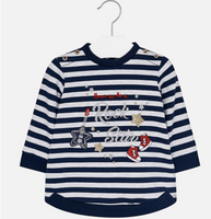Mayoral Baby Girls Striped Fleece Dress, Navy