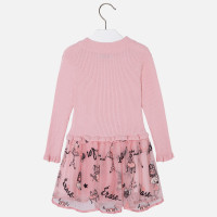 Mayoral Girls Embroidered Tricot Tulle Dress, Bubblegum