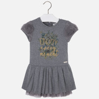 Mayoral Girls Plush Tulle Dress, Steel