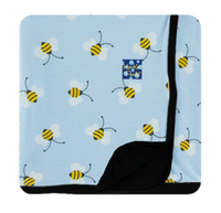 Kickee Pants Custom Print Toddler Blanket - Pond Bees with Midnight Trim and Reverse
