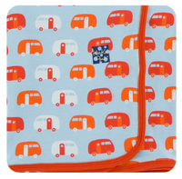 Kickee Pants Custom Print Toddler Blanket - Pond Camper with Poppy Trim and Reverse