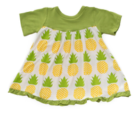 Kickee Pants Classic Short Sleeve Swing Dress - Natural Pineapple
