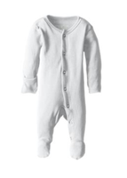 L'ovedbaby 100% Organic Cotton Footed Overall - White