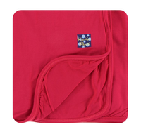 Kickee Pants Custom Print Toddler Blanket - Solid Flag Red with Flag Red Trim & Backing