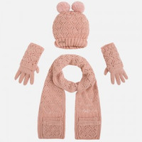 Mayoral Girls Beanie, Scarf, and Gloves Set - Nude