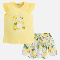 Mayoral Girls T-Shirt and Skirt Set - Yellow