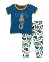 Kickee Pants Print Short Sleeve Pajama Set with Pants - Samba