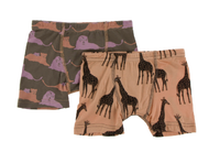 Kickee Pants Boxer Briefs Set of 2 - Lions & Suede Giraffe