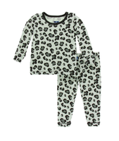Kickee Pants Print Long Sleeve Pajama Set with Pants - Aloe Cheetah Print