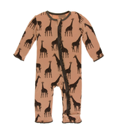 Kickee Pants Print Muffin Ruffle Coverall with Zipper - Suede Giraffe