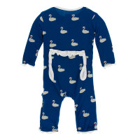 Kickee Pants Print Layette Classic Ruffle Coverall with Snaps - Navy Queen's Swans