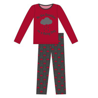 Kickee Pants Women's L/S Fitted Pajama Set - Umbrellas and Rain Clouds
