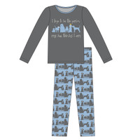 Kickee Pants Women's L/S Fitted Pajama Set - London Dogs