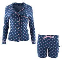 Kickee Pants Print Women's Collared Pajama Set w/ Shorts - Twilight Dot