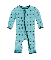 Kickee Pants Print Layette Classic Ruffle Coverall with Snaps - Glacier Holiday Lights