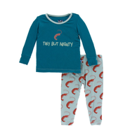 Kickee Pants Print Long Sleeve Pajama Set - Jade Shrimp
