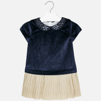 Mayoral Girls Velvet Dress - Navy