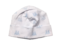 Kissy Kissy 100% Peruvian Pima Cotton Light Blue Cottontail Duo Print Hat - Small