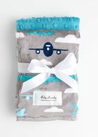 Baby Laundry Double Sided Minky Blanket - Planes/Teal Bump