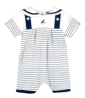 Le Top Stripe Romper with Nautical Collar - Little Sailboat