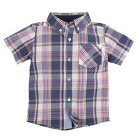 Andy & Evan Nothing Else Madras Shirt - Navy and Pink
