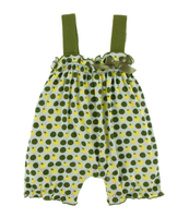 Kickee Pants Print Gathered Romper with Bow - Aloe Tomatoes