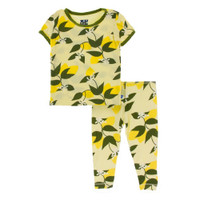 Kickee Pants Custom Print Long Sleeve Pajama Set - Lime Blossom Lemon Tree with Pesto trim
