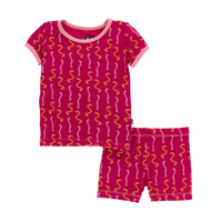 Kickee Pants Cancun Print S/S Pajama Set with Shorts - Rhododendron Worms