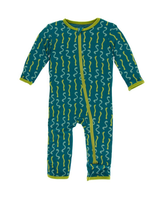 Kickee Pants Cancun Print Coverall with Zipper - Oasis Worms