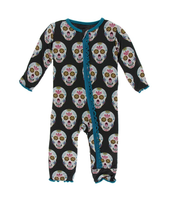 Kickee Pants Cancun Print Muffin Ruffle Coverall with Zipper - Día de los Muertos