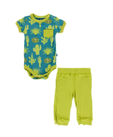 Kickee Pants Cancun S/S Pocket One Piece & Pant Outfit Set - Seagrass Cactus