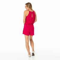 Kickee Pants Cancun Solid Women's Keyhole Romper - Rhododendron