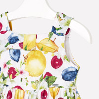 Mayoral Girls Fruit Printed Dress - Yellow