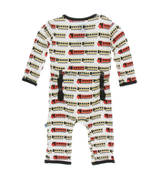 Kickee Pants India Print Coverall with Zipper - Natural Indian Train
