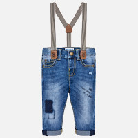 Mayoral Baby Boys Jeans with Suspenders - Light