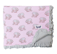 Pale Orchid Hippos Ruffle Toddler Blanket